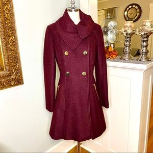 Guess Wine Double Breasted Wool Pea Coat Burgundy
